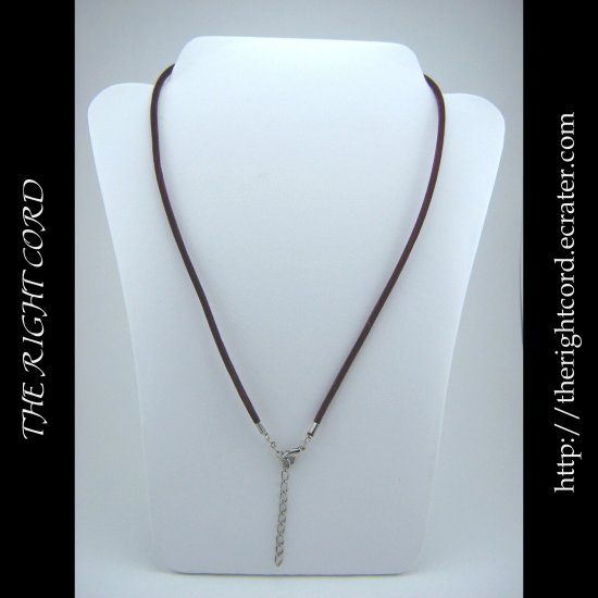 "17"" Burgundy Red Velvet Necklace Cord 3mm with Extension Chain"