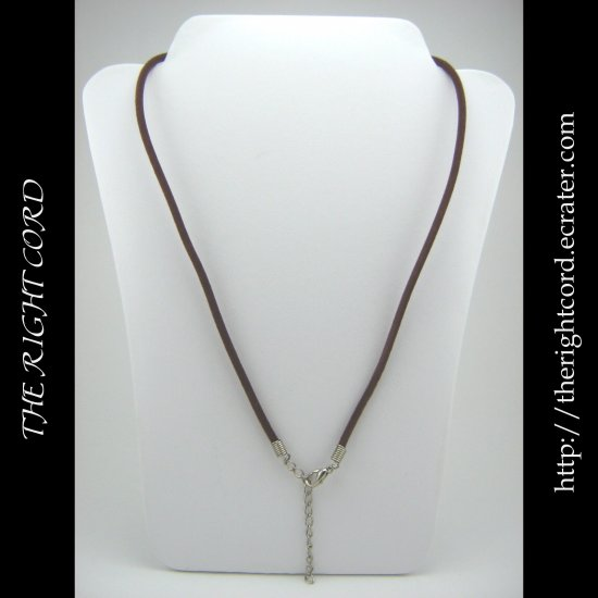 "18"" Chocolate Brown Velvet Necklace Cord 3mm with Extension Chain"