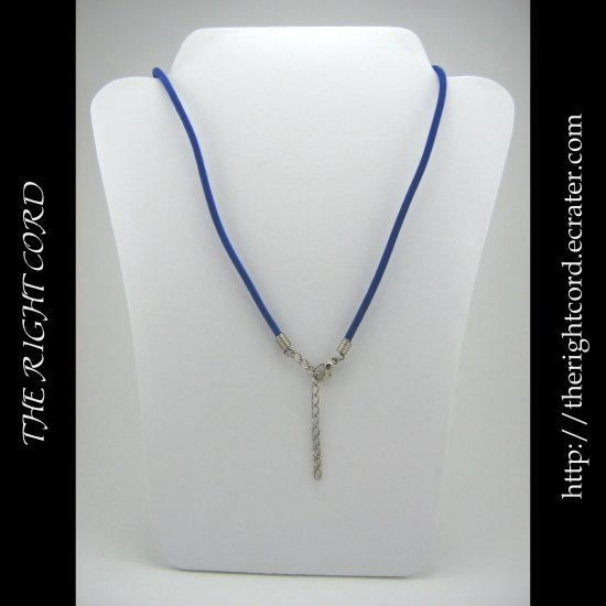 "19"" Royal Blue Velvet Necklace Cord 3mm with Extension Chain"