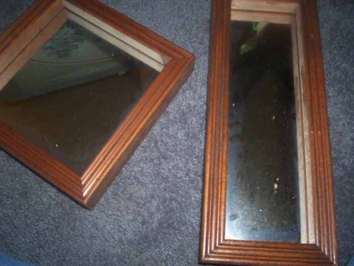 Wall Mirrors with Wooden Frames set of two
