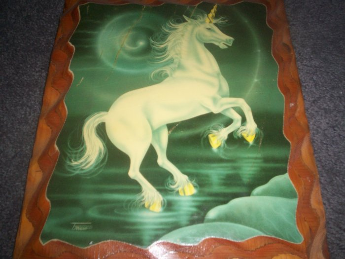Wood Plaque with Unicorn Picture