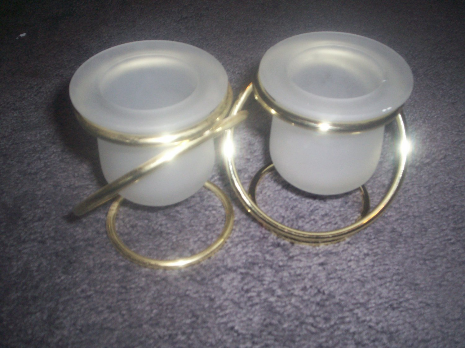 Partylite Gemini Brass & Frosted Glass Twin Votive Holder