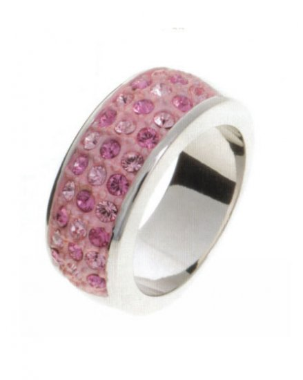 Lady Swarovski Crystals Pink Ring Jewelry Jewellery NEW - 3 Rows RING DIVA