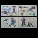 VINTAGE 1968 RUSSIAN MAN AND HIS DOG CARTOON POSTCARDS