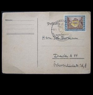 GERMAN DEUTSCHES REICH CARRAIGE STAMP ON POSTCARD 1941