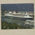 QUEEN MARY 2 AT GARDEN ISLAND NAVAL BASE AUSTRALIA POSTCARD