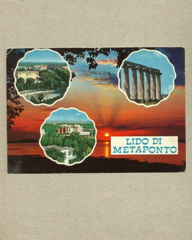LIDO DI METAPONTO ITALY MULTIVIEW POSTCARD ITALIAN STAMP AND CANCELLATION 1979