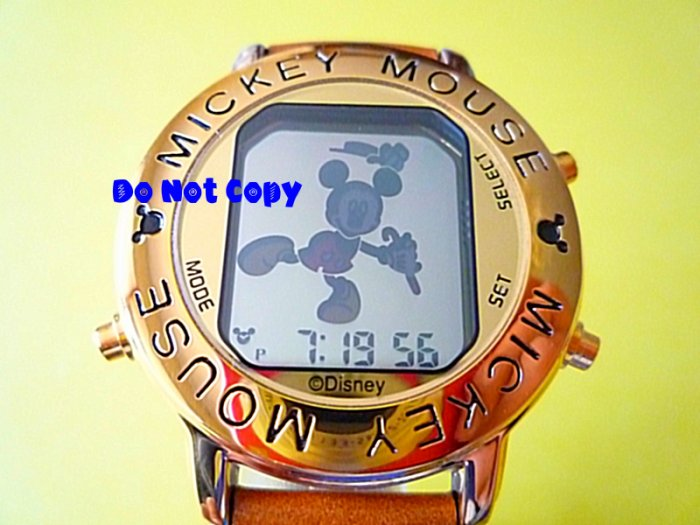 NIB Mens Disney Mickey Mouse Dancing Musical Gold Watch
