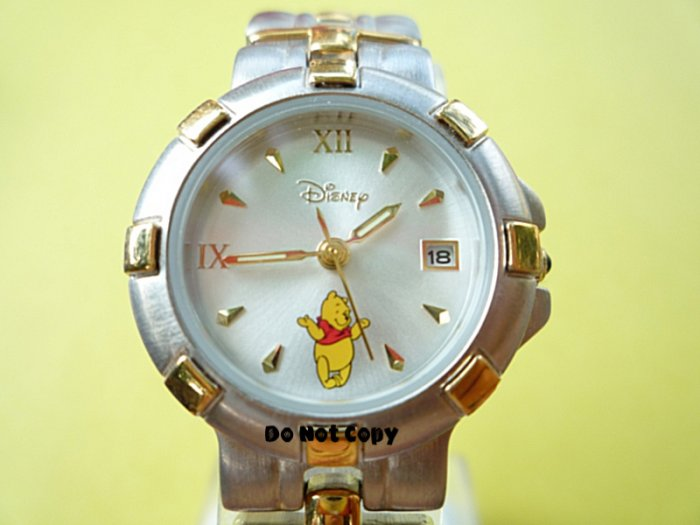 NEW Disney Winnie The Pooh with Date 2-Tone Watch HTF