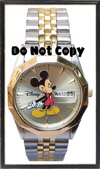 NEW Mens Disney/Seiko Mickey Mouse Date/Day 2Tone Watch