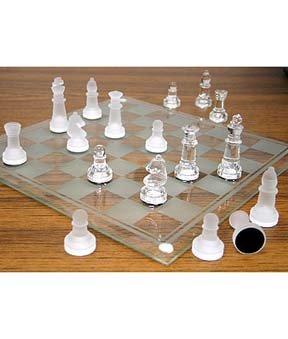 NEW Exquisite Elegant LARGE Glass Chess Set 14 x 14 NIB