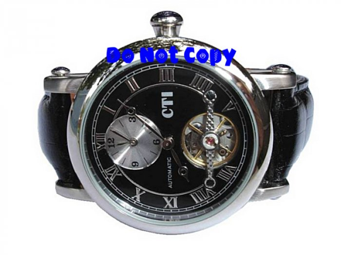 NEW Mens CTI 27Jewels Dual Time AUTOMATIC Tourbillon Swiss Watch