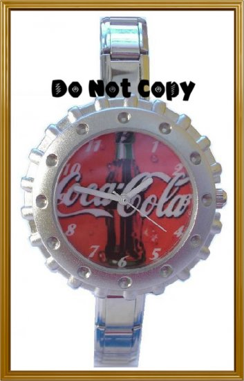 BRAND NEW Red Coca Cola Bottle Cap Italian Charm Watch