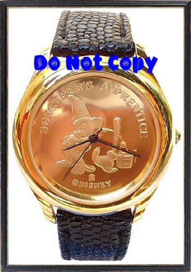 NEW Disney Mickey Mouse Fantasia Sorcerer 22KT Gold Watch Vintage