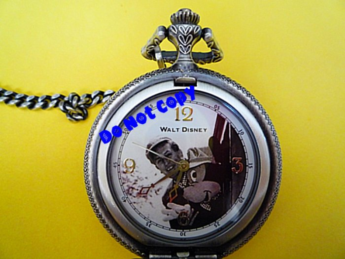 NEW Walt Disney Mickey Mouse LILLY BELLE Pocket Watch Vintage