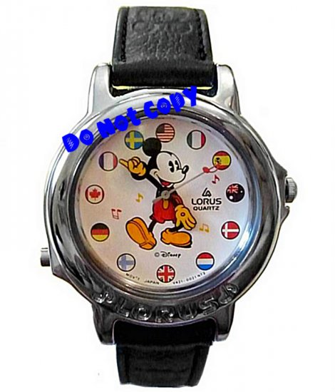 NEW Disney/Lorus Mickey Mouse Musical Unisex Silver Watch