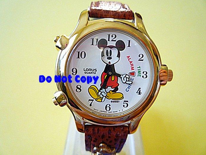 NEW Disney/Lorus Mickey Mouse Alarm Chime TimeWatch HTF Vintage