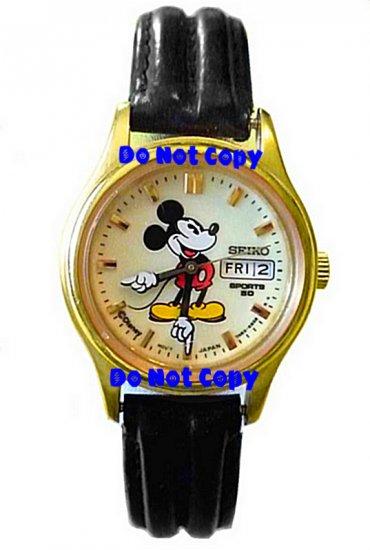 NEW Disney Mickey Mouse SEIKO Lumibrite Date & Day Watch HTF