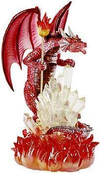 NEW Dragon Guardian Fiery Red Dragon Crystalline Statue