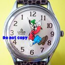 NEW Vintage Disney Lorus Goofy Backwards Silver Watch HTF