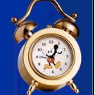 NEW Disney Mickey Mouse Mini Gold Twin Bell Clock HTF