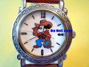 Vintage Disney Mickey Mouse Western Cowboy Rodeo Watch