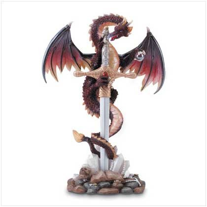 NEW Dragon Fiery Sword Dragon Fantasy Stone