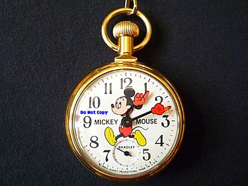 MINT Vintage Disney Bradley Mickey Mouse Pocket Watch
