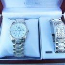 NEW Men's Calvin Hill Diamond w/ Silver Bracelet Watch Set