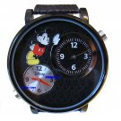 NEW Disney Men's Mickey Mouse Large Dual Time Watch HTF