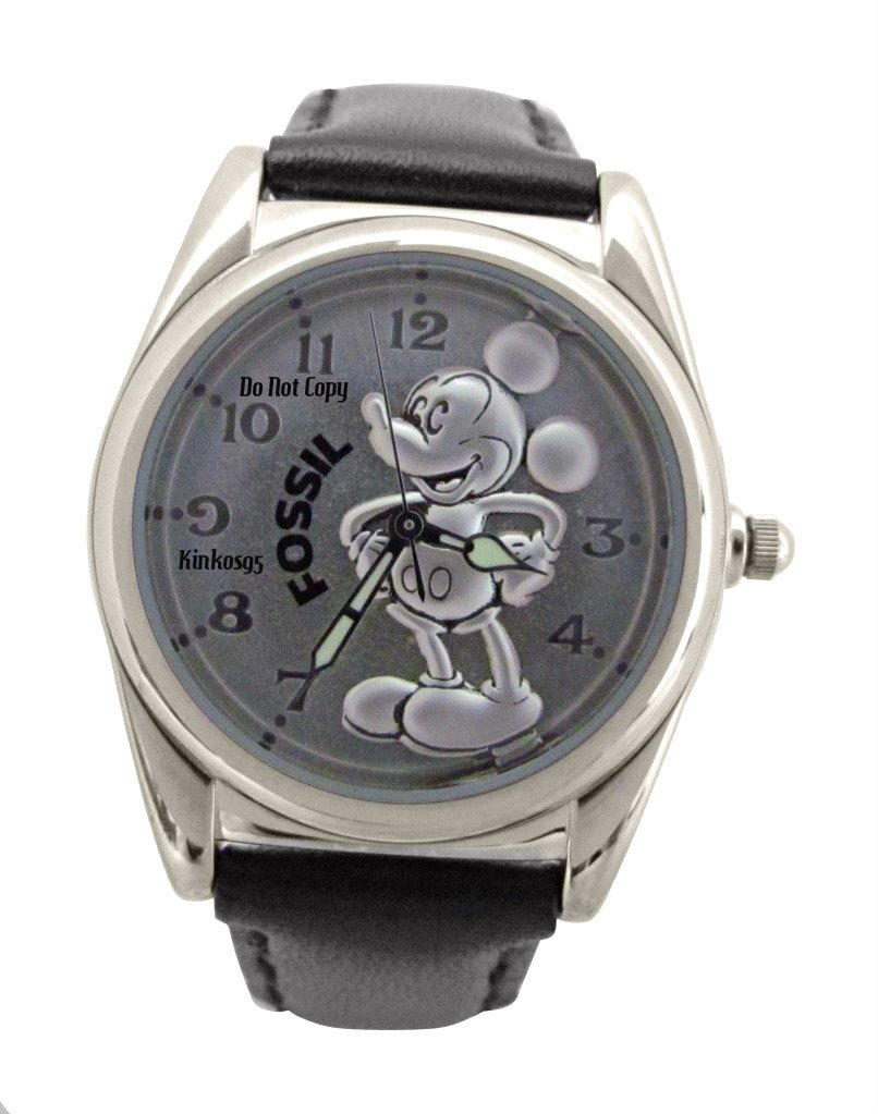 new s disney fossil mickey mouse silver silhouette