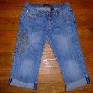 Ladies VANILLA Capri Juniors Embellished Studs Jeans Size 11