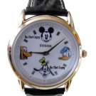 New Disney Fossil Mickey Mouse, Pluto, Goofy, Donald Duck Gold Edition Watch