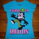 "NEW Girls Felix The Cat Aqua T shirt ""Everyday I'm Shufflin"""