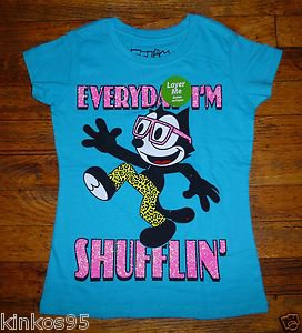 "NEW Girls Felix The Cat Aqua T shirt ""Everyday I'm Shufflin"""