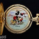 NEW Disney Mickey Mouse & Minnie Limited Edition Ice-Skating Gold Pocket Watch