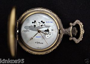 """NEW Disney Mickey Mouse Limited Edition """"Plane Crazy"""" Pocket Watch HTF"""