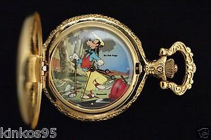 "NEW Disney Goofy ""How to Play Golf"" Par Excellence Gold Pocket Watch HTF"