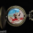 """NEW Disney Mickey Mouse """"Canine Caddy"""" Par Excellence Pocket Watch HTF"""
