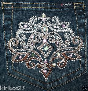 Ladies Angels Blue Rhinestones Jeans Juniors Size 7