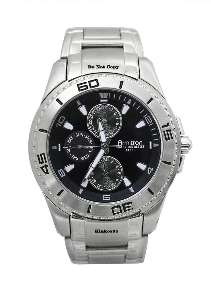 NEW Mens Armitron Multifunctional Diver Style Black Watch