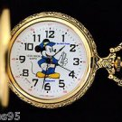 NEW Disney Verichron Mickey Mouse Conductor Gold Pocket Watch HTF