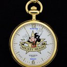NEW Disney Verichron Mickey Mouse Gold Pocket Watch HTF