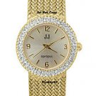 NEW Ladies Jules Jurgensen Crystal Gold Mesh Watch