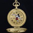 Disney Pulsar Mickey Mouse Gold Pocket Watch HTF