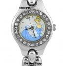 NEW Ladies Disney Cinderella Rhinestones Silver Watch