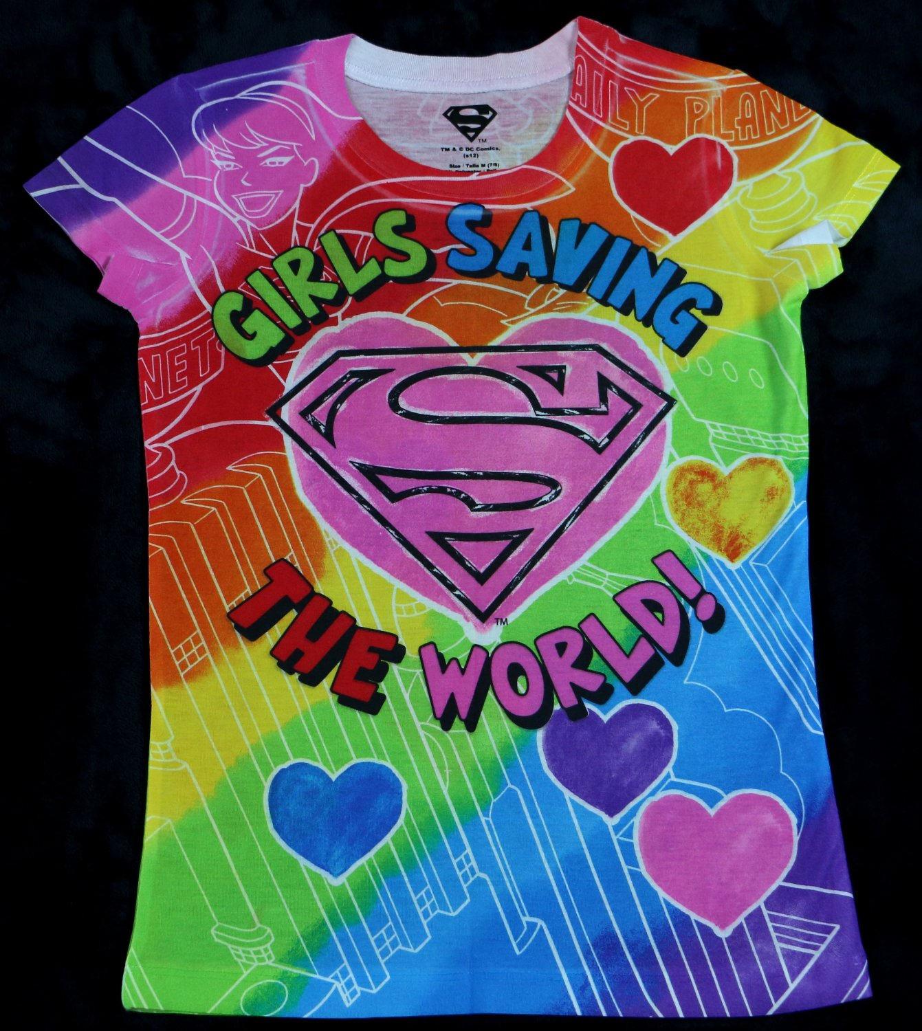 "NEW Girls Colorful Superman Super Girl Comics T shirt ""Girls Saving The World"" Size XL (14/16)"