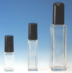(144 ct) 1 Dram (4 ml) Clear Tall Square Shape Glass Bottles w/ Caps - Wholesale Decorative Bottles
