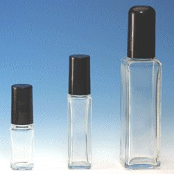 (72 ct) 1 oz Clear Tall Square Shape Glass Bottles with Caps - Wholesale Decorative Bottles