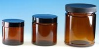 (24 ct) 4 oz Amber Glass Jars with Black Lids (Empty) - Wholesale Glass Jars
